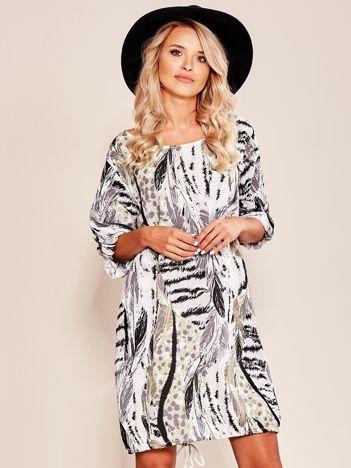 Szara wzorzysta sukienka