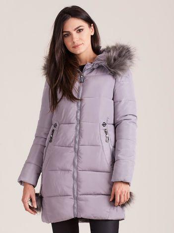 Szara zimowa kurtka damska z futerkiem
