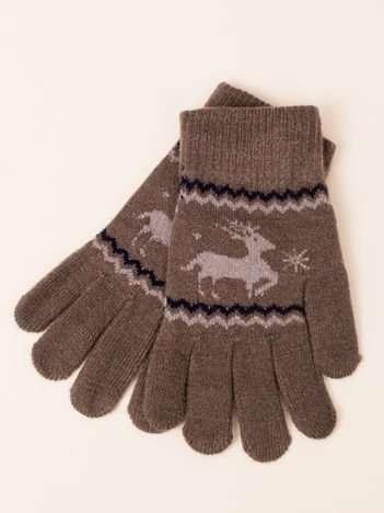Szare WEŁNIANE Dziecięce Rękawiczki z RENIFEREM 16cm (5-8lat)