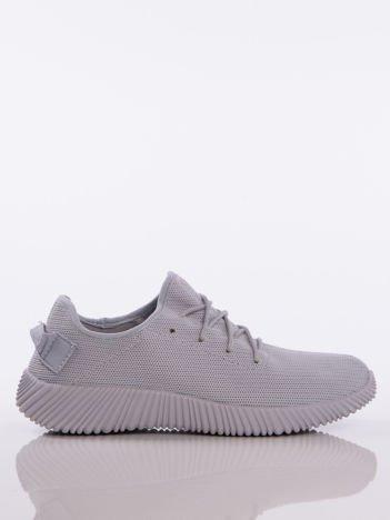 Szare buty sportowe pattern z tkaniny z uchwytem z tyłu