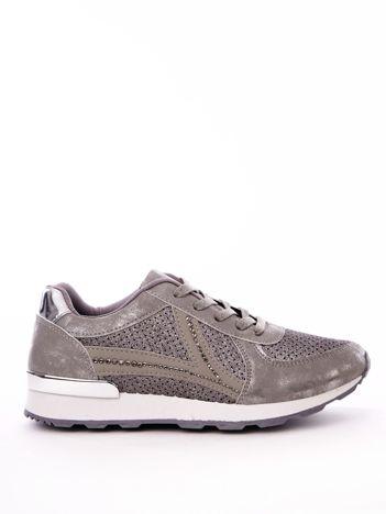 Szare buty sportowe ze sprężystą podeszwą i ażurowa cholewką