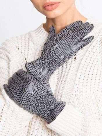 Szare damskie rękawiczki z efektem połysku skóry węża