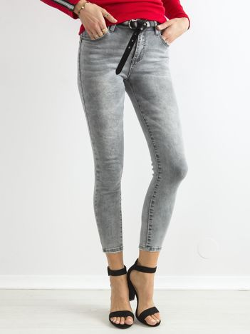 Szare jeansowe rurki skinny z wysokim stanem