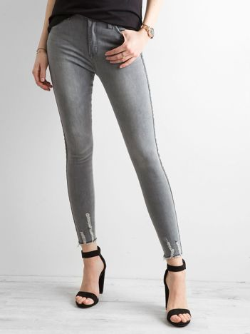 Szare jeansowe rurki z lampasami