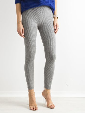 Szare miękkie legginsy w prążek high waist