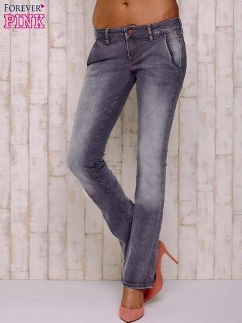 Szare przecierane spodnie ze stretchem