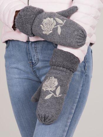 Szare rękawiczki z haftem