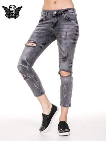 Szare rozjaśniane spodnie jeansowe 7/8 z rozdarciami
