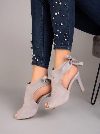 Szare sandały na szpilkach SERGIO LEONE wiązane na tyle cholewki
