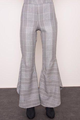 Szare spodnie damskie w kratę BSL