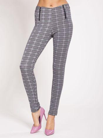 Szare spodnie damskie w kratkę