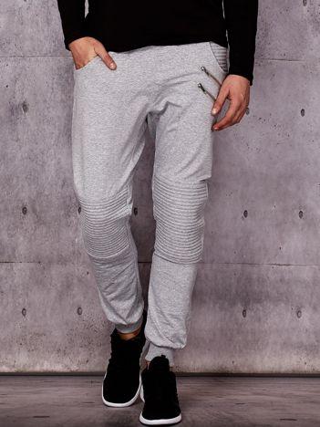 Szare spodnie dresowe męskie z suwakami