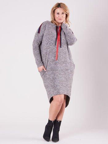 Szaro-beżowa asymetryczna sukienka PLUS SIZE