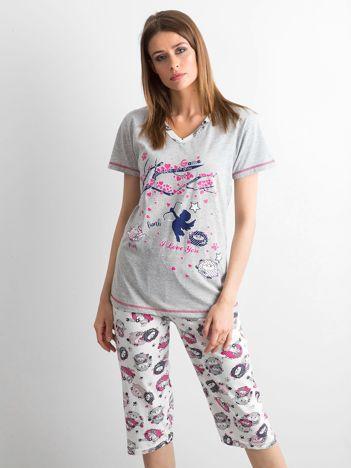 Szaro-biała dwuczęściowa piżama