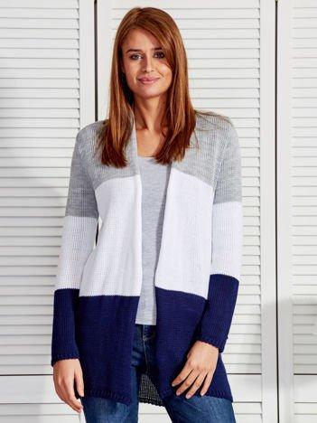 Szaro-biały otwarty sweter