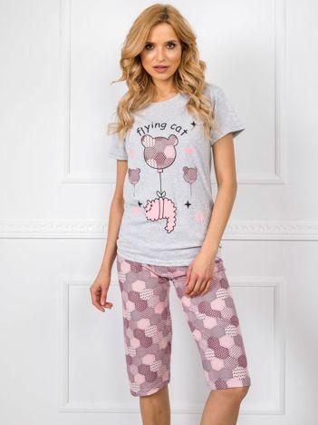 Szaro-bordowa piżama damska