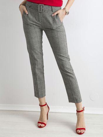 Szaro-bordowe spodnie cygaretki z paskiem