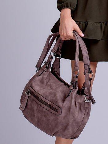 Szaro-brązowa torba w miejskim stylu z odpinanym paskiem