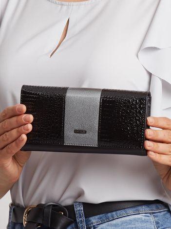 Szaro-czarny portfel skórzany