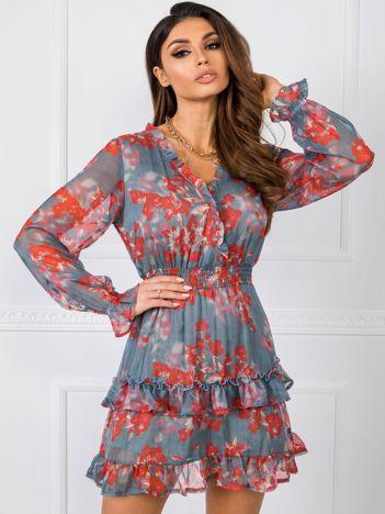 Szaro-czerwona sukienka Alison RUE PARIS