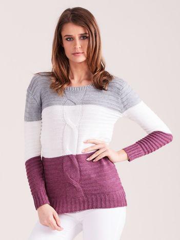 Szaro-fioletowy sweter w szerokie pasy