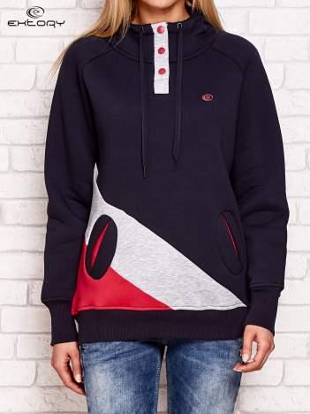 Szaro-grafitowa ocieplana bluza z kapturem
