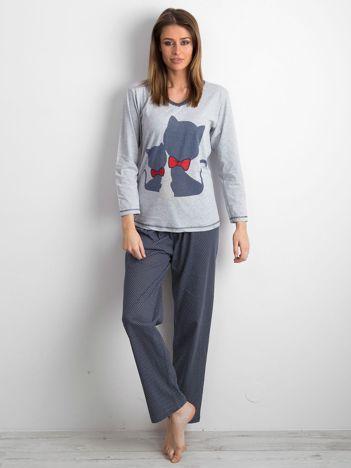 Szaro-granatowa piżama damska dwuczęściowa