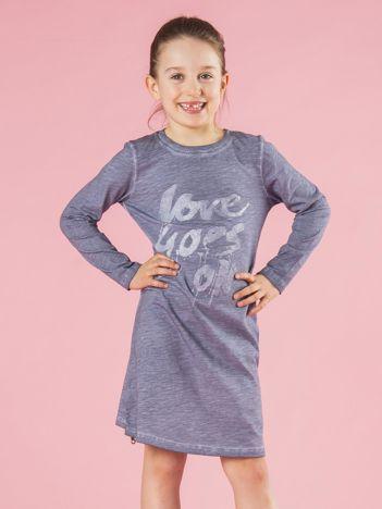 Szaro-niebieska bawełniana sukienka dziewczęca