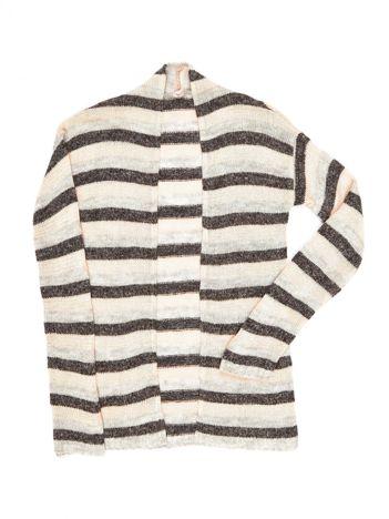 Szaro-pomarańczowy sweter dla dziewczynki w paski