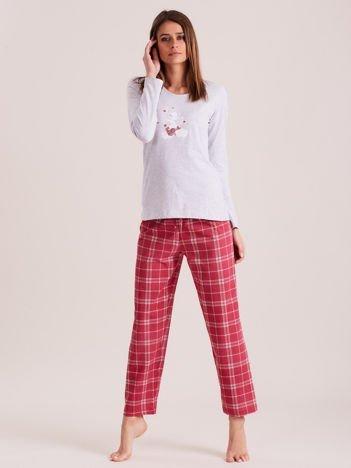Szaro-różowa piżama damska