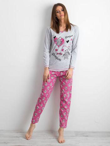 Szaro-różowa piżama damska w pingwiny