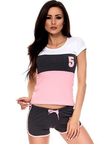 Szaro-różowy komplet t-shirt i szorty