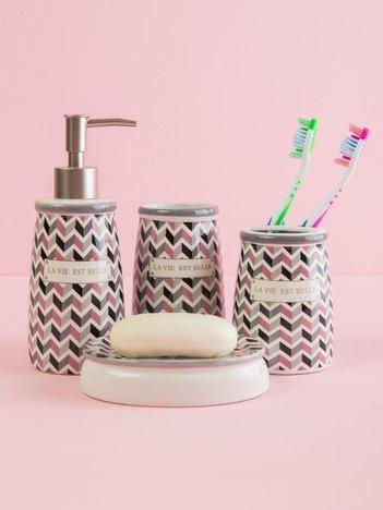 Szaro-różowy zestaw przyborów toaletowych