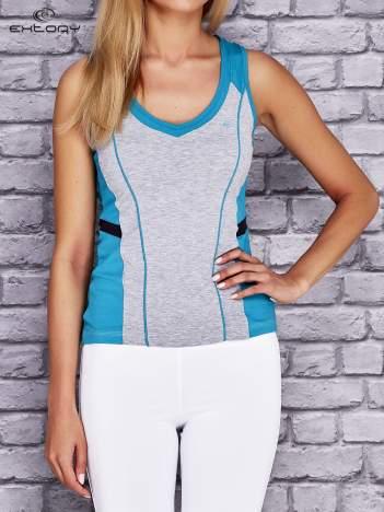 Szaro-turkusowy damski top sportowy z nadrukiem na plecach