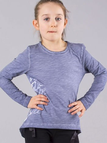 Szaroniebieska bluzka dziewczęca z napisem na boku