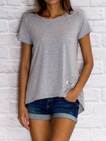 Szary asymetryczny t-shirt