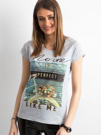 Szary bawełniany t-shirt damski