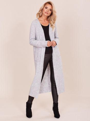 Szary długi sweter damski