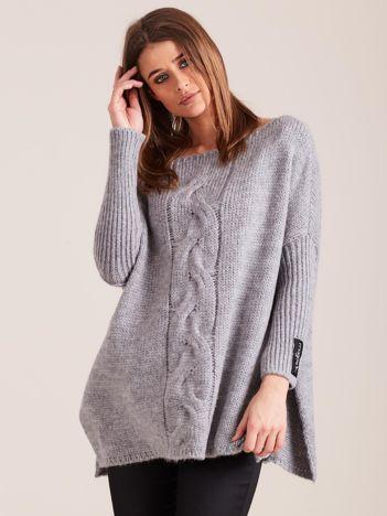 Szary dzianinowy sweter damski MAGPIE w warkocz