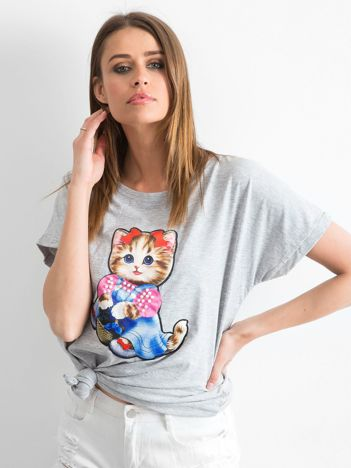 Szary luźny t-shirt Sweetness