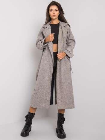 Szary melanżowy płaszcz z paskiem Treina