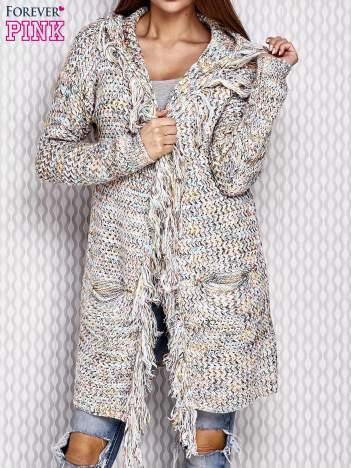 Szary otwarty sweter z kolorową nitką