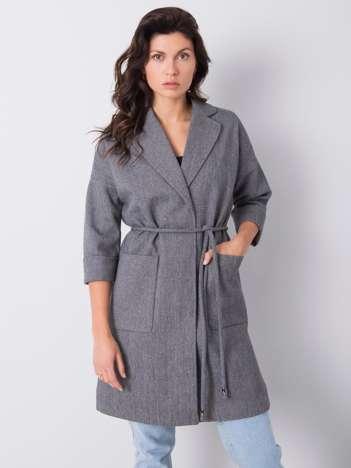Szary płaszcz w kratkę Calla
