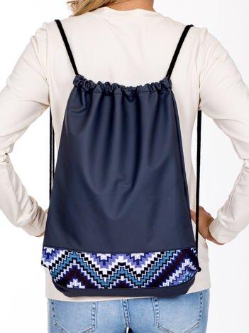 Szary plecak worek z etniczną wstawką