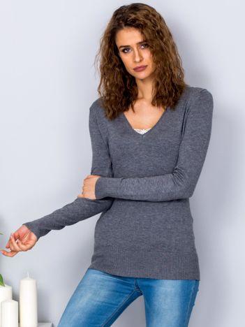 Szary sweter V-neck