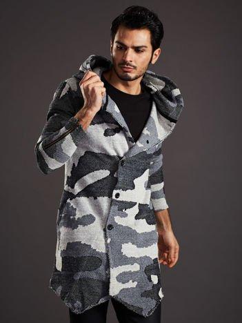 Szary sweter męski moro z asymetrycznym zapięciem