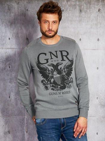 Szary sweter męski z nadrukiem