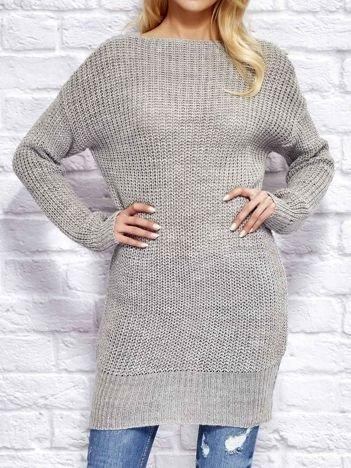 Szary sweter z wiązaniem