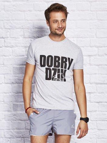 Szary t-shirt męski DOBRY DZIK