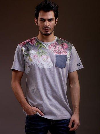 Szary t-shirt męski w kwiaty FUNK N SOUL